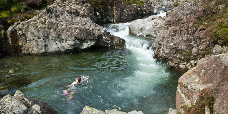 Wild swimming in the river Esk